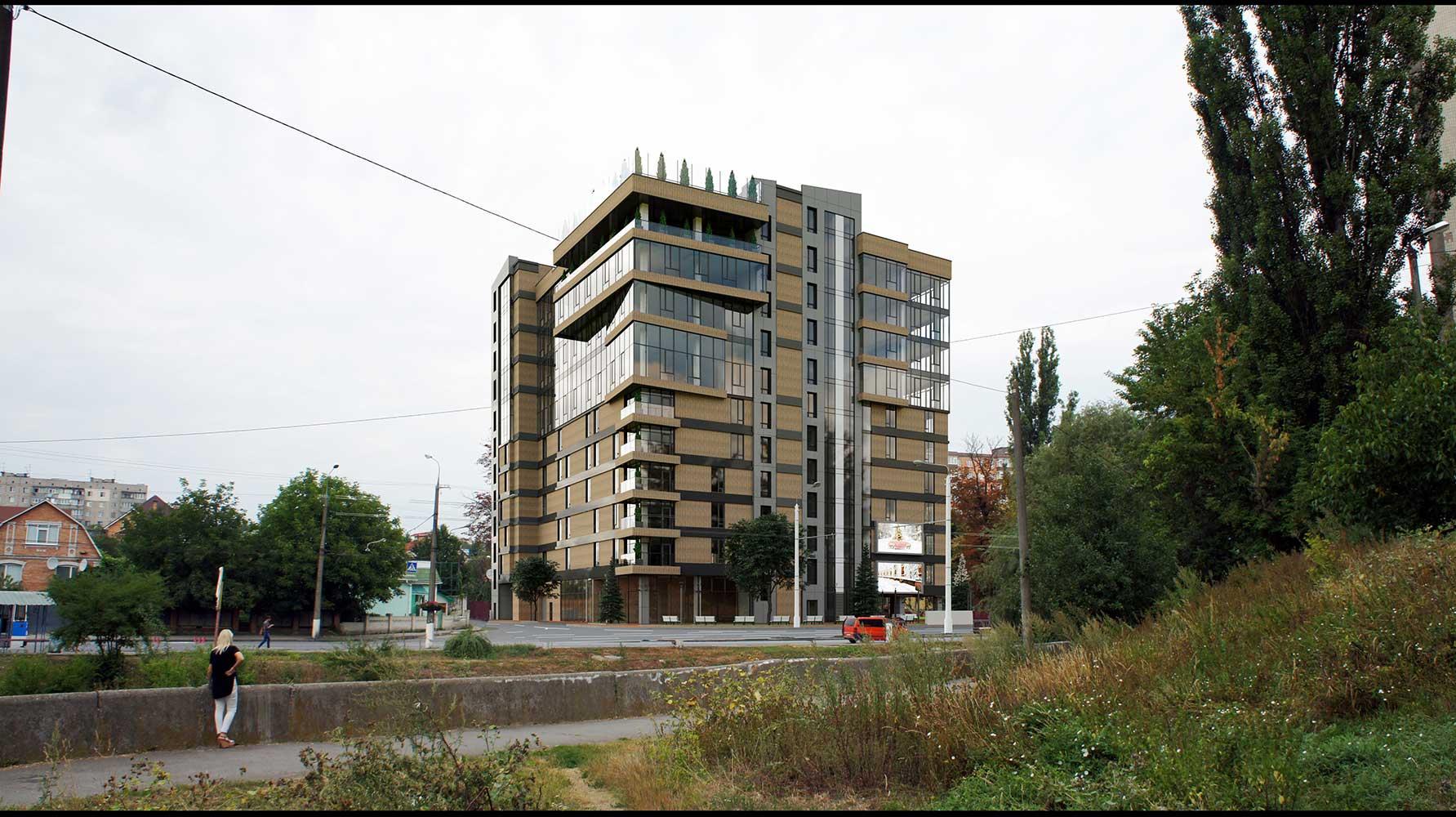 Многоэтажный торгово-бытовой комплекс с помещениями общественного назначения и паркинга (фото 1)