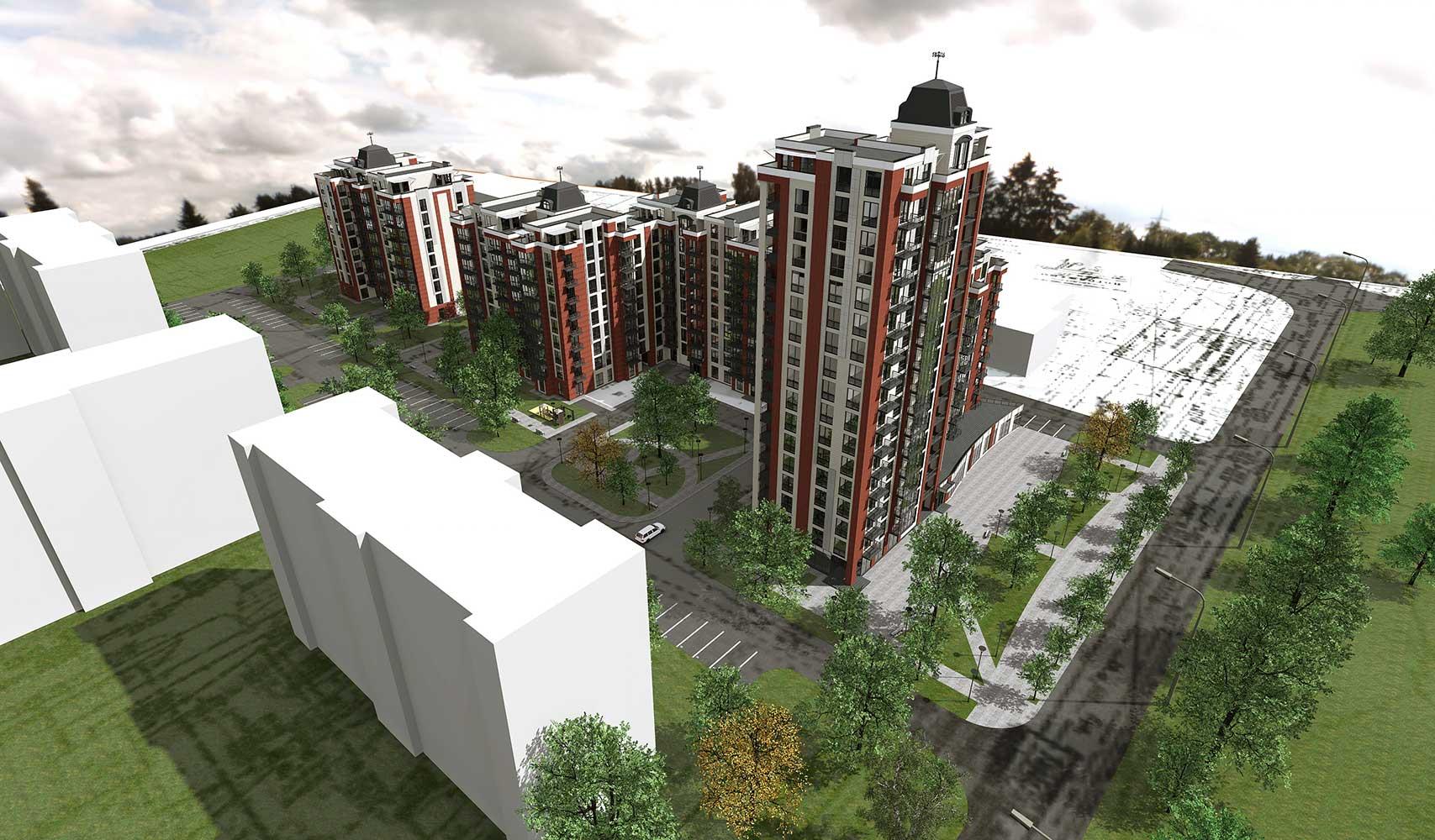 Проектное предложение жилого комплекса по ул. Порика в г. Виннице (фото 1)